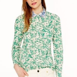 J. Crew Liberty Jody Floral Jeweled Collar Shirt